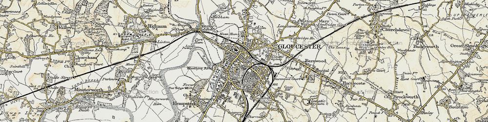 Old map of Gloucester in 1898-1900