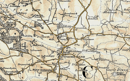 Old map of Gluvian in 1900