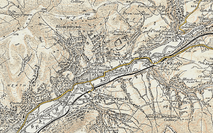 Old map of Glyn-neath in 1900-1901