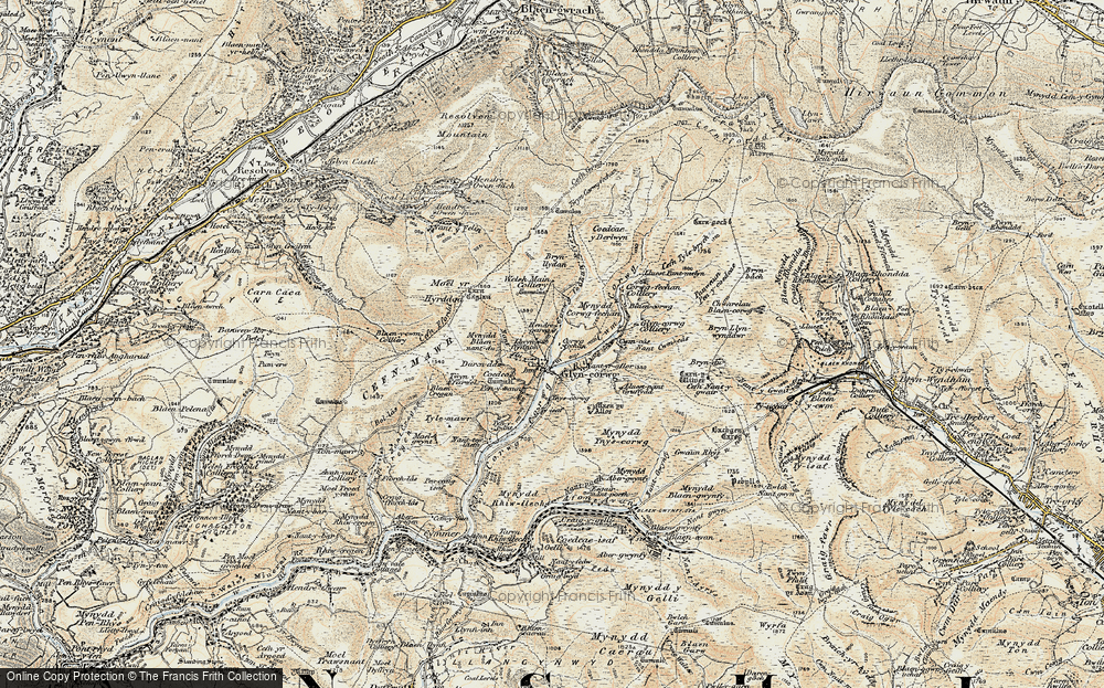 Old Map of Historic Map covering Afon Corrwg in 1900-1901