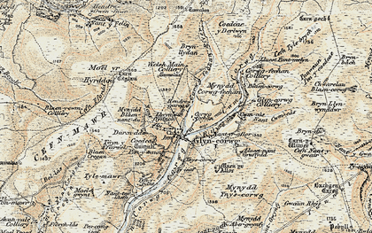 Old map of Afon Corrwg Fechan in 1900-1901