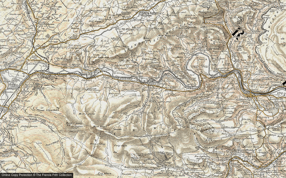 Old Map of Historic Map covering Afon Ro in 1902-1903