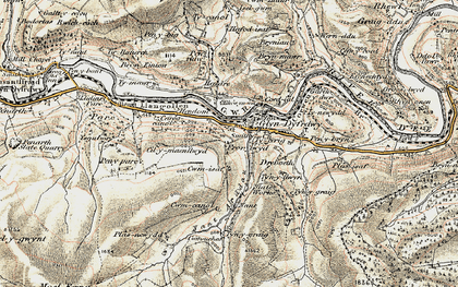 Old map of Afon Ro in 1902-1903