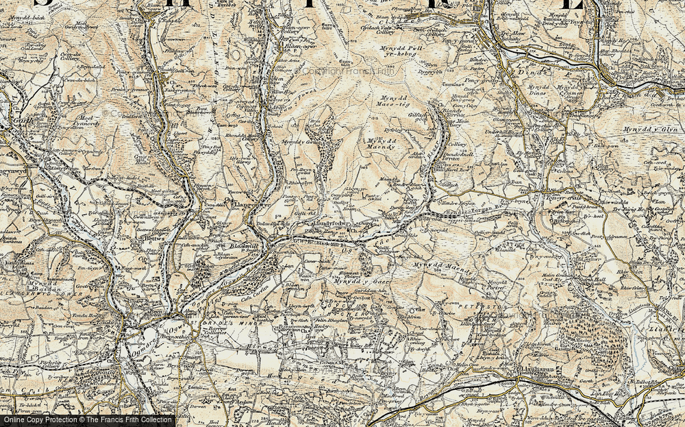 Old Map of Glynogwr, 1899-1900 in 1899-1900