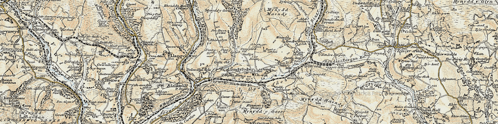 Old map of Glynogwr in 1899-1900