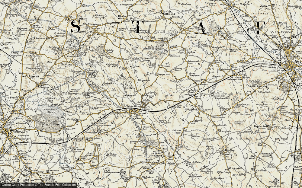 Old Map of Historic Map covering Audmore in 1902