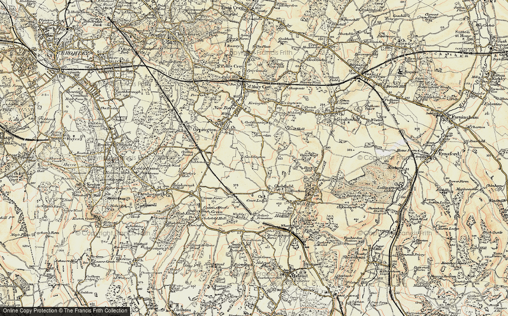 Old Map of Historic Map covering Woodlands in 1897-1902