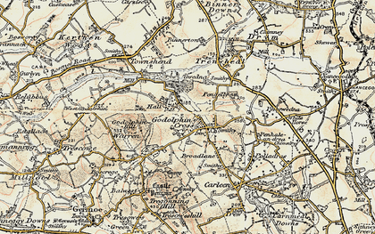 Old map of Godolphin Cross in 1900