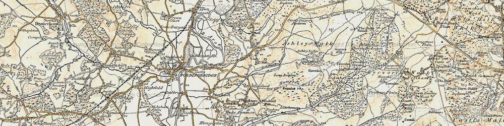 Old map of Godshill in 1897-1909