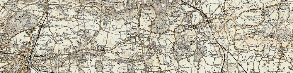 Old map of Godstone in 1898-1902