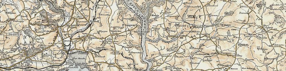Old map of Golant in 1900