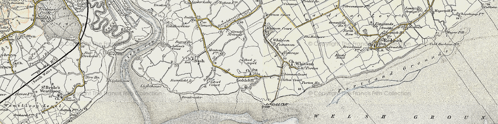 Old map of Goldcliff in 1899-1900