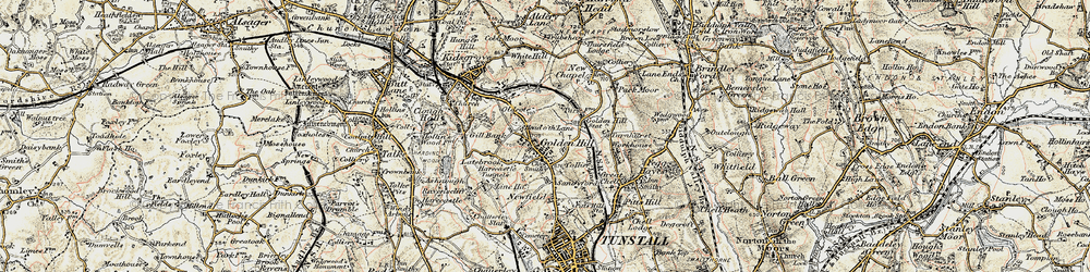 Old map of Goldenhill in 1902