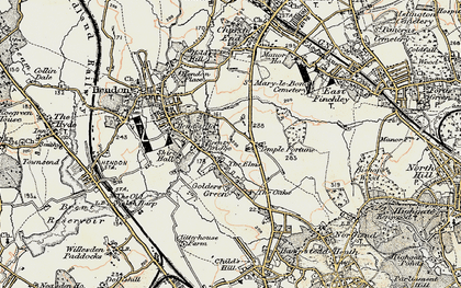 Old map of Golders Green in 1897-1898