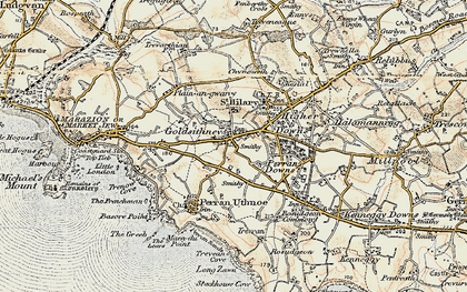 Old map of Goldsithney in 1900
