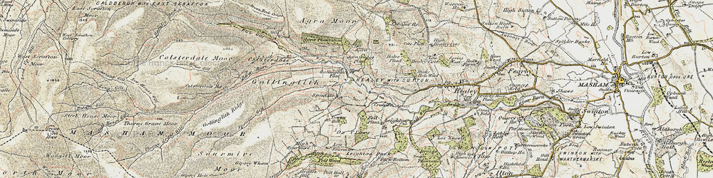 Old map of Agra Crags in 1903-1904
