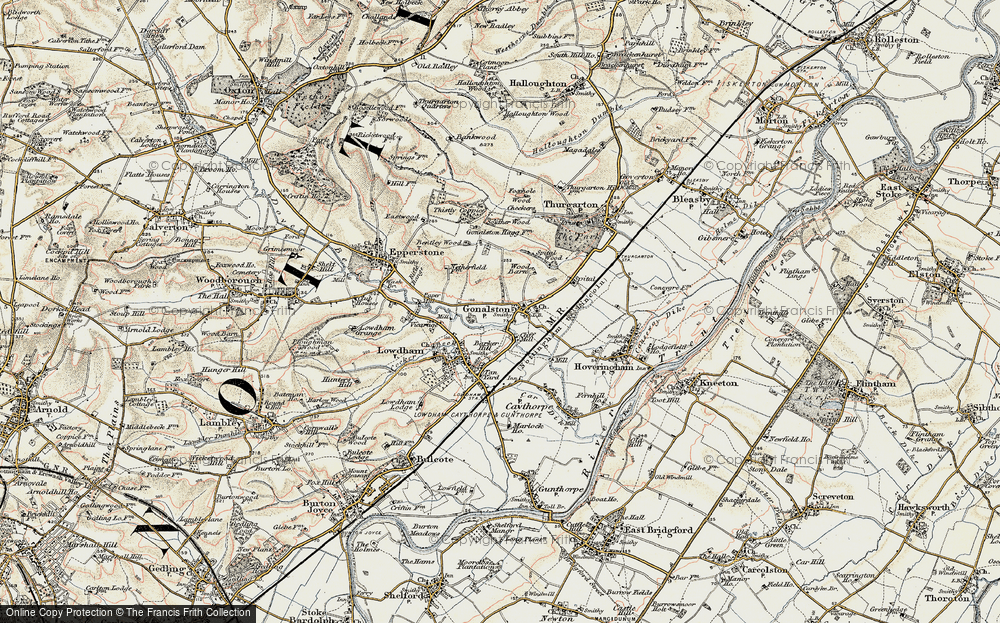 Old Map of Historic Map covering Barker Hill in 1902