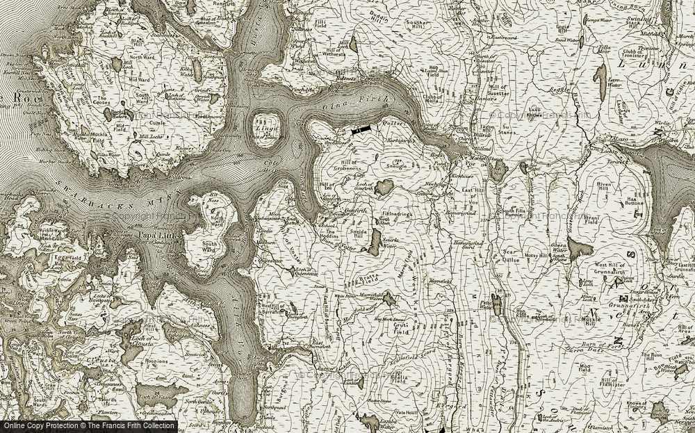 Old Map of Historic Map covering Shetland Islands in 1911-1912