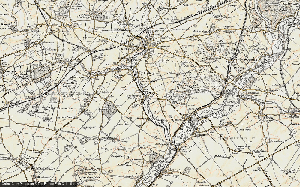 Old Map of Historic Map covering Augurs Hill Copse in 1897-1900