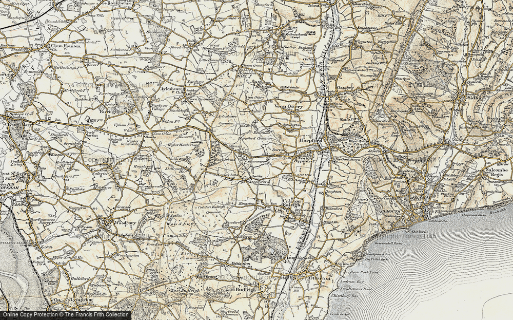 Old Map of Historic Map covering Aylesbeare Common in 1899