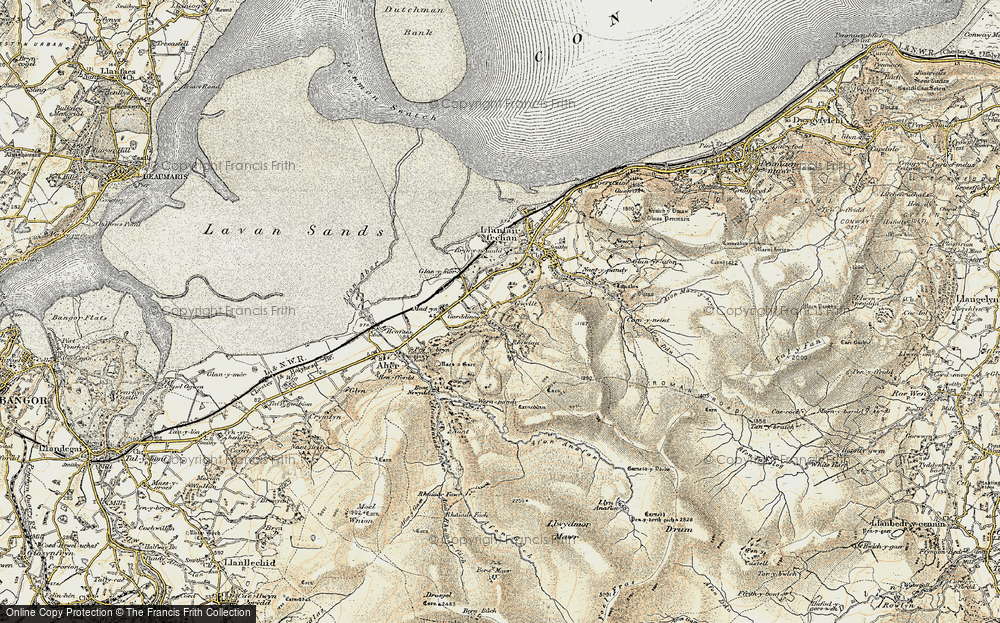 Old Map of Historic Map covering Afon Anafon in 1903-1910