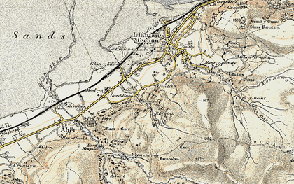 Old map of Afon Anafon in 1903-1910