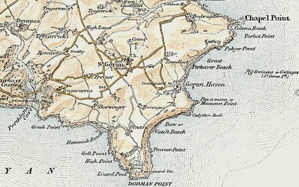 Old map of Gorran Haven in 1900