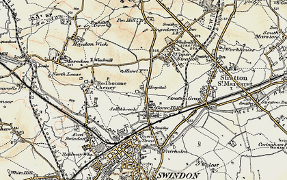 Old map of Gorse Hill in 1898-1899