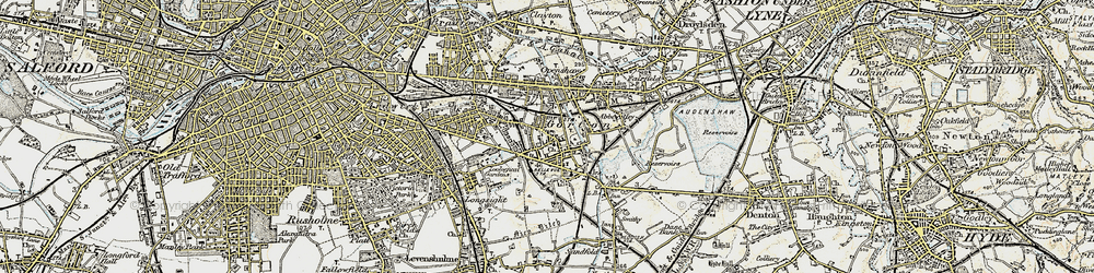 Old map of Gorton in 1903