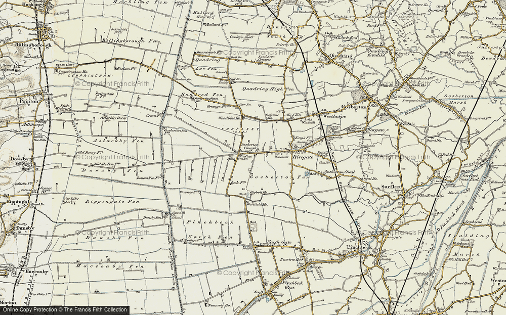 Old Map of Historic Map covering Woodbine Ho in 1902-1903