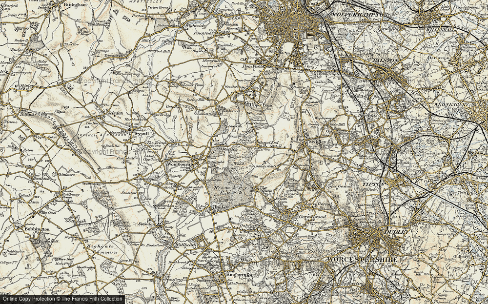 Old Map of Historic Map covering Baggeridge Country Park in 1902