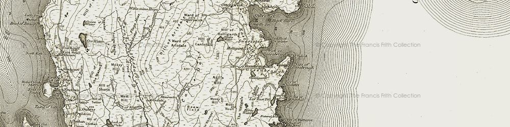 Old map of Wick of Gossabrough in 1912