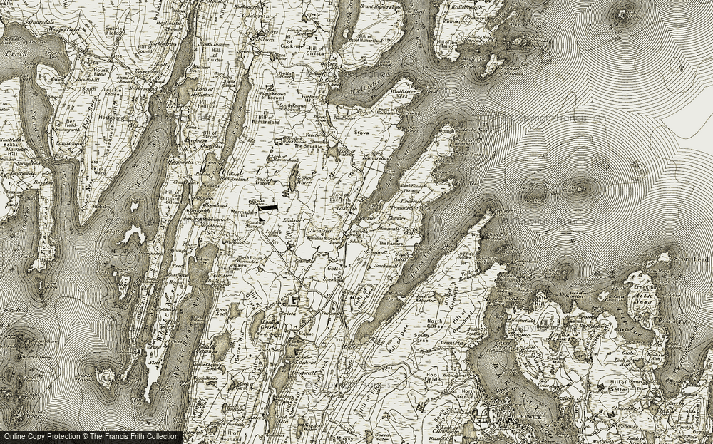 Old Map of Historic Map covering Laxfirth in 1911-1912
