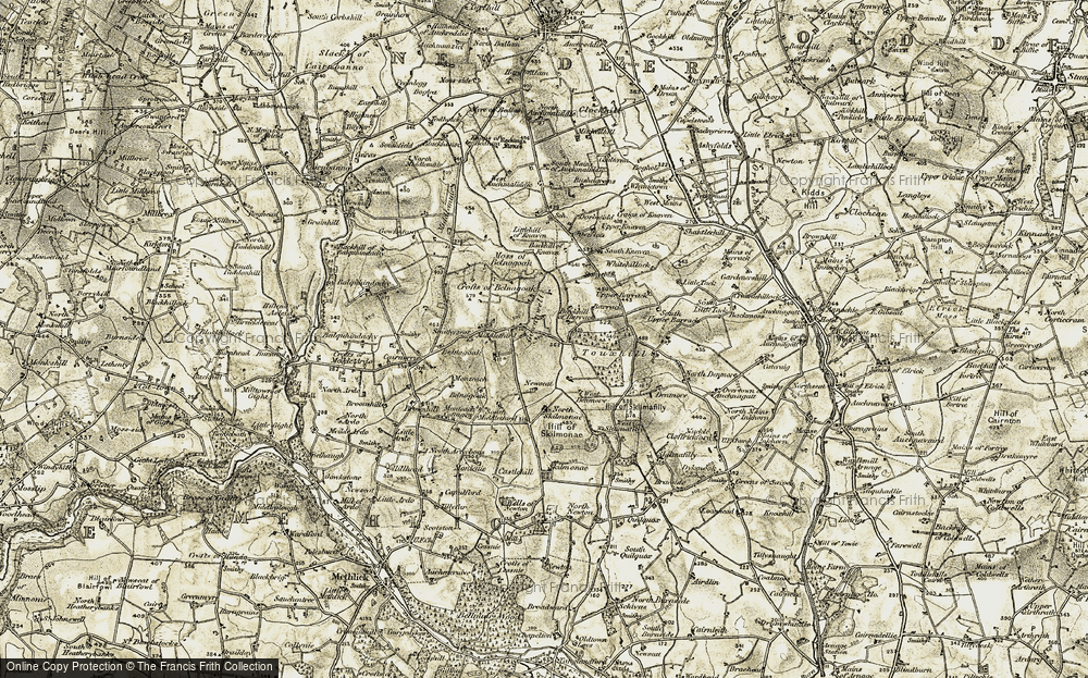 Old Map of Historic Map covering Backhill of Barrack in 1909-1910