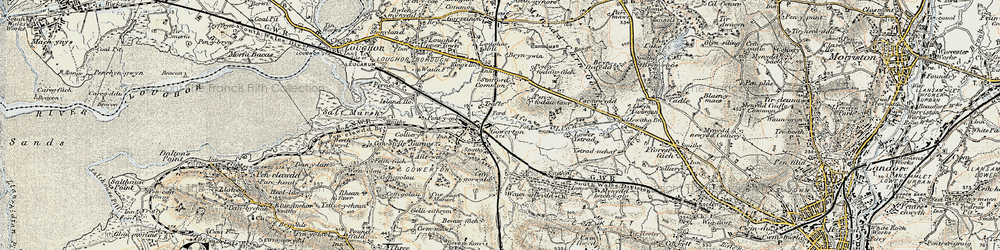 Old map of Gowerton in 1900-1901