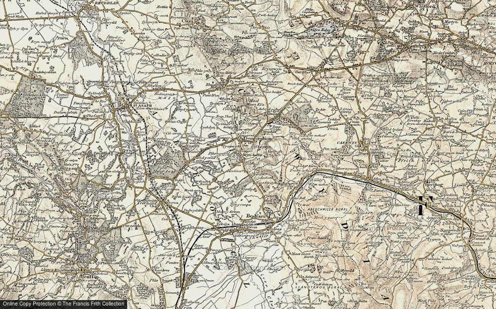 Old Map of Historic Map covering Bâch-y-graig in 1902-1903
