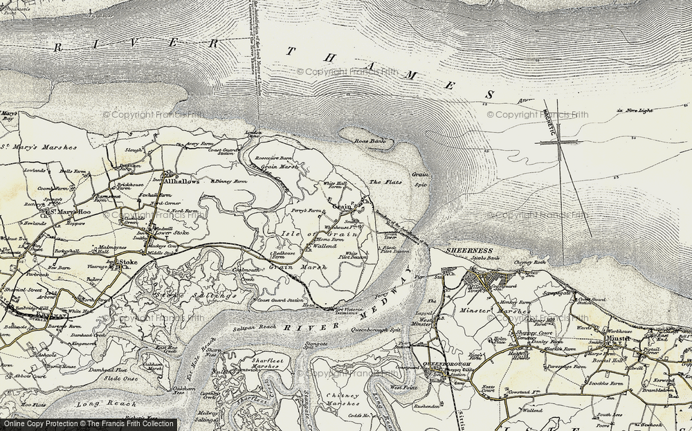 Old Map of Historic Map covering Lees Marshes in 1897-1898