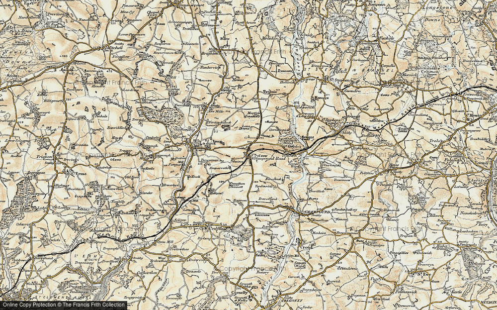 Old Map of Historic Map covering Lawn Downs in 1900
