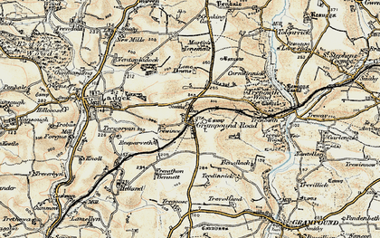Old map of Grampound Road in 1900