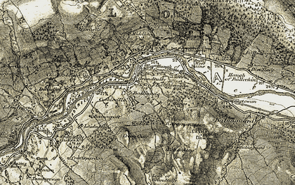 Old map of Grandtully in 1907-1908
