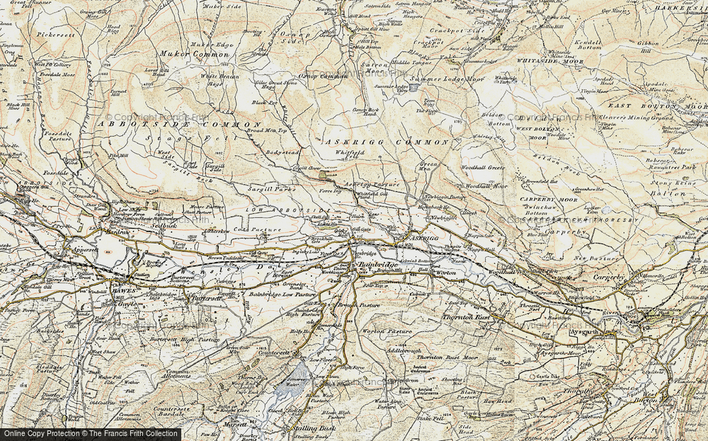 Old Map of Historic Map covering Askrigg Pasture in 1903-1904