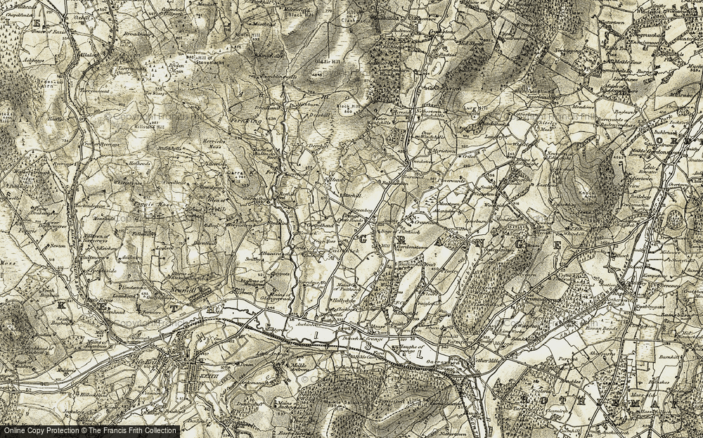 Old Map of Historic Map covering Balnamoon in 1910