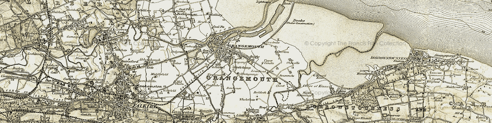 Old map of Grangemouth in 1904-1906