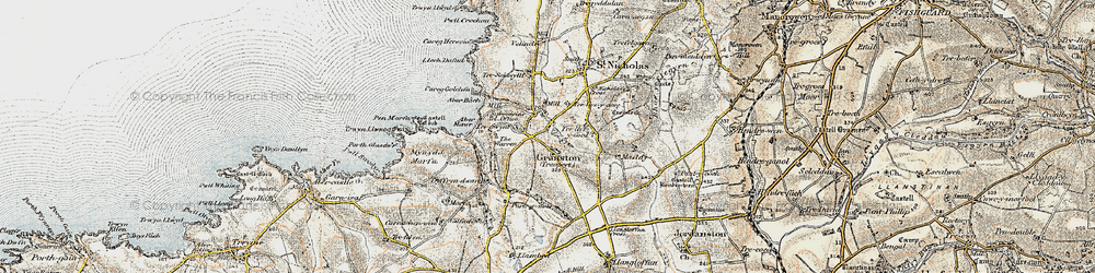 Old map of Aber Bach in 1901-1912