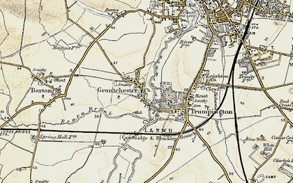 Old map of Grantchester in 1899-1901