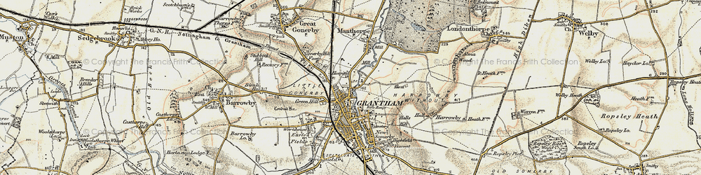 Old map of Grantham in 1902-1903