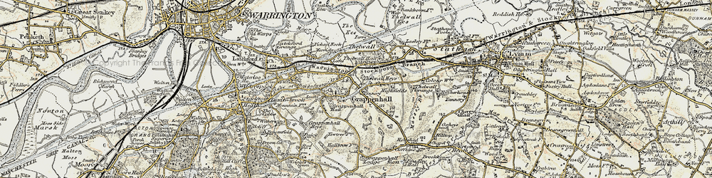 Old map of Grappenhall in 1903