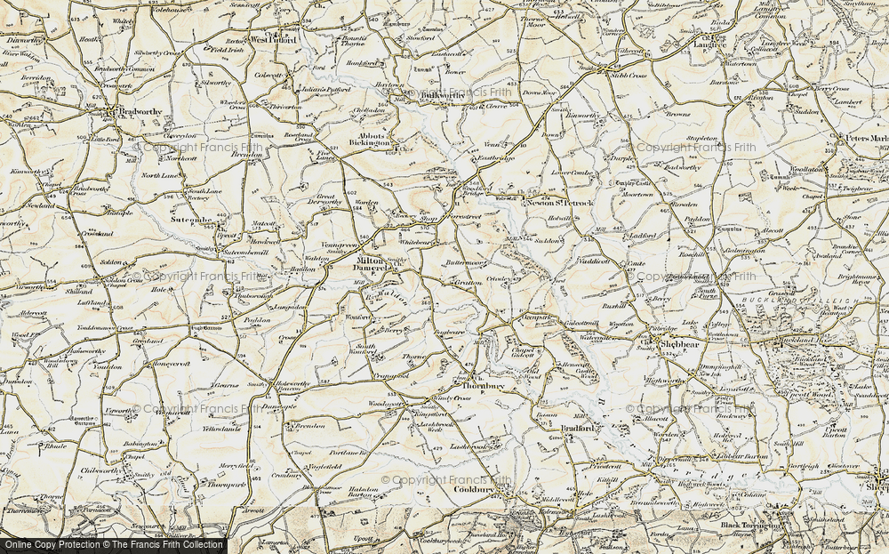Old Map of Historic Map covering Bagbeare in 1900