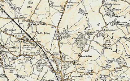 Old map of Graveley in 1898-1899