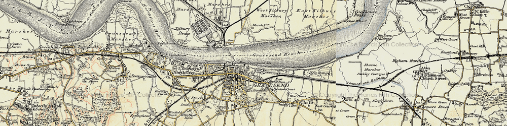 Old map of Gravesend in 1897-1898